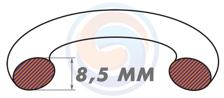 Резиновые уплотнительные кольца ГОСТ 9833-73 (ГОСТ 18829-73) - Диаметр сечения 8.5 мм