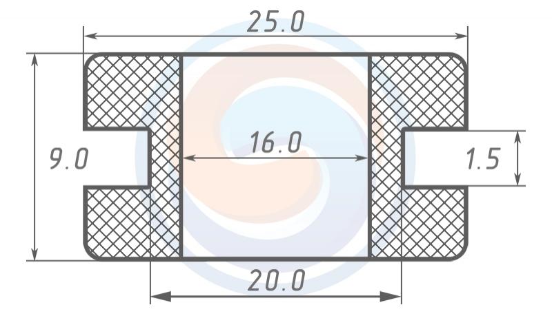 Втулка ГОСТ 19421-74 резиновая предохранительная 16 - 9 (20)