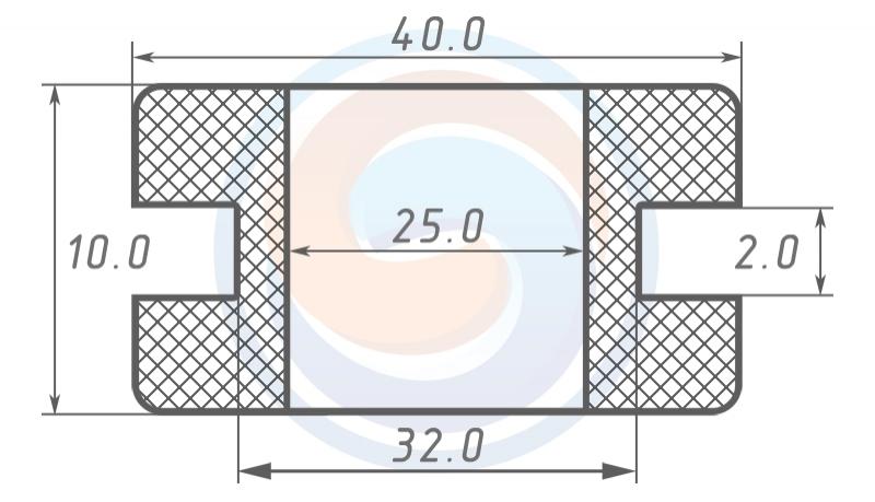 Втулка ГОСТ 19421-74 резиновая предохранительная 25 - 10 (32)
