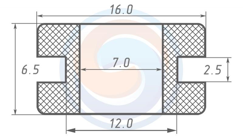 Втулка ГОСТ 19421-74 резиновая предохранительная 7 - 6.5 (12)