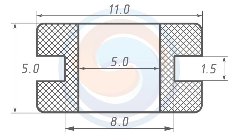 Втулка ГОСТ 19421-74 резиновая предохранительная 5 - 5 (8)