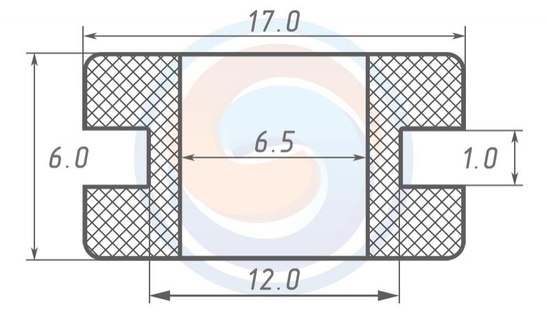Втулка ГОСТ 19421-74 резиновая предохранительная 6,5 - 6 (12)