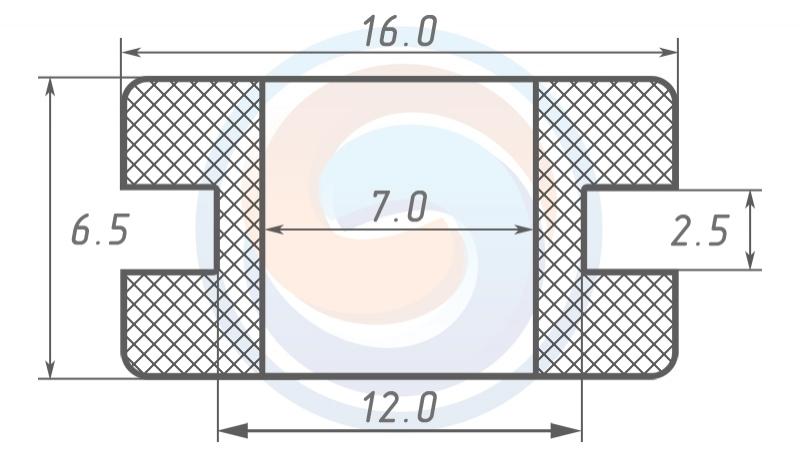 Втулка ГОСТ 19421-74 резиновая предохранительная 7 - 6,5 (12)