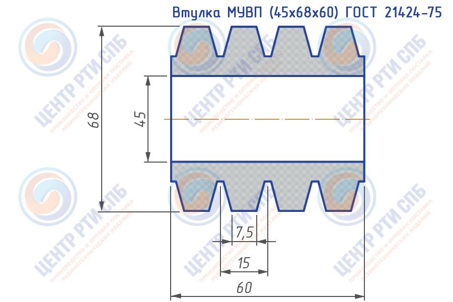 Втулка МУВП (45x68x60) ГОСТ 21424-75, ТУ 2500-37600152106-94