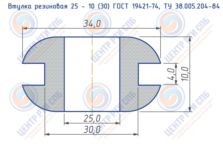 Втулка резиновая 25 - 10 (30) ГОСТ 19421-74, ТУ 38.005.204-84